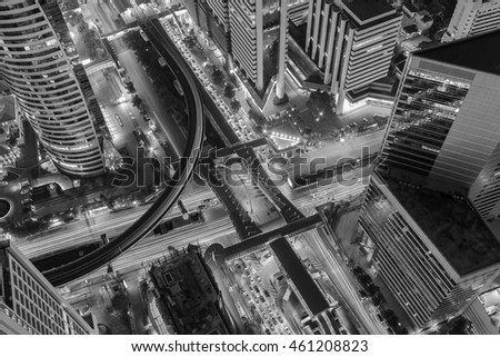 Black and White, Aerial building business downtown train station in Bangkok with intersection cross road background