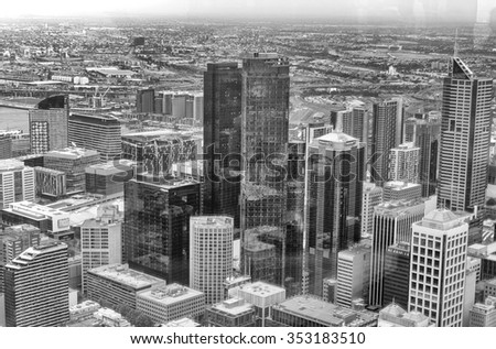 Black and white aerial skyline of Melbourne, Australia. - stock photo