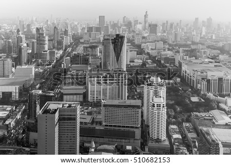 Black and White, aerial view city downtown, Bangkok Thailand