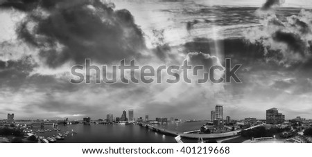 Black and white aerial view of Jacksonville. - stock photo