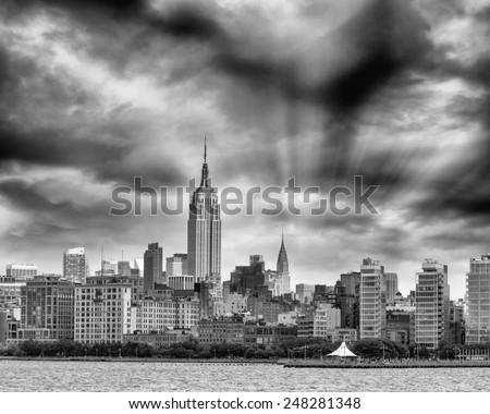 Black and white aerial view of Manhattan skyline, New York City. - stock photo