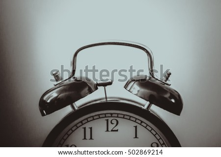 Black and white alarm clock