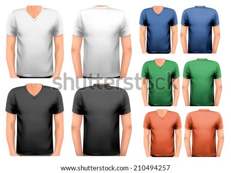 Black and white and color men t-shirts. Design template.