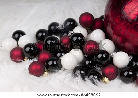 black and white and red Christmas balls - stock photo