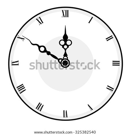 Black and white antique looking clock face isolated on white background - stock photo