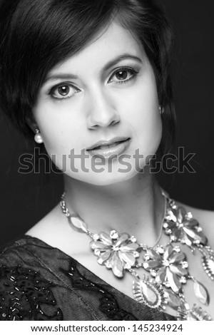 Black and white art photo/ Elegant lady with stylish hairstyle - stock photo