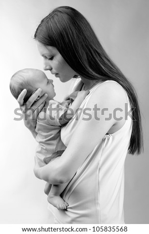 Mother And Baby Black And White Stock Images, Royalty-Free ...