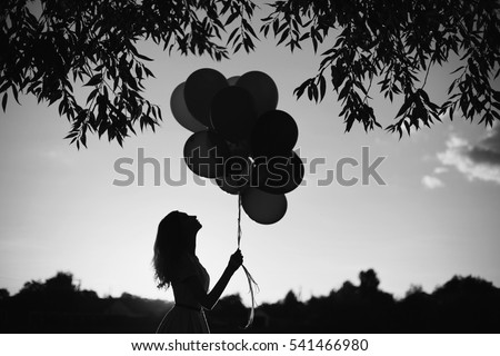 Black And White Art Photography Monochrome Girl With Balloons In Nature Against