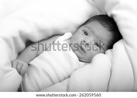 black and white baby - stock photo