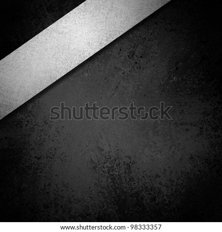 black and white background monochrome illustration with vintage grunge texture and ribbon layout design on corner border of frame with copyspace for title or text