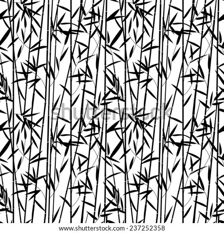 Black and white bamboo forest pattern - stock photo
