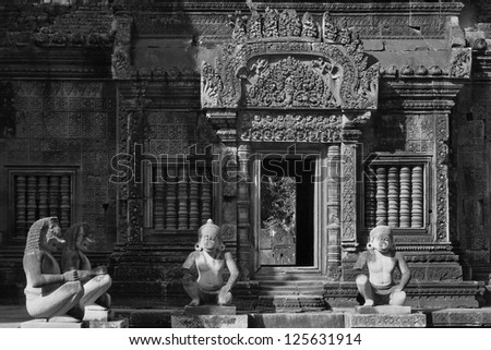 Black and white Banteay Srei temple