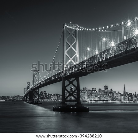Black and white Bay Bridge