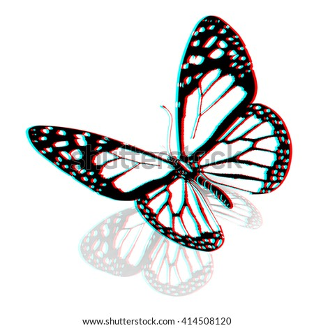 Black and white beautiful butterfly. High quality rendering. 3D illustration. Anaglyph. View with red/cyan glasses to see in 3D.