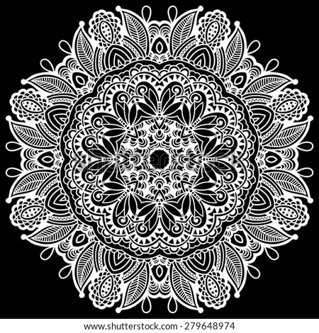 black and white beautiful vintage circular pattern of arabesques, floral round  raster version illustration - stock photo
