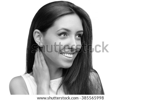 Black and white beauty portrait of teen beautiful cheerful girl with long brown hair and fresh clean skin isolated on white background.