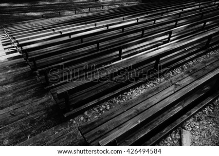 Black and white benches nature view background