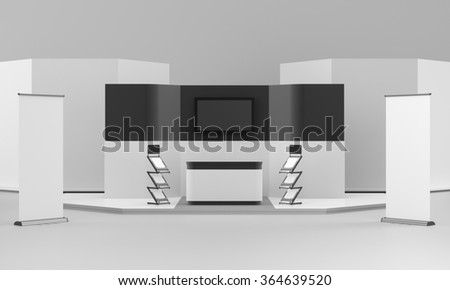 black and white booth or stall with floor and tv displays. 3D rendering