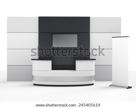 black and white booth or stall with wall, tv screen and roll-up - stock photo