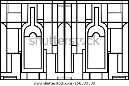 Black and white bottles drawing - stock photo