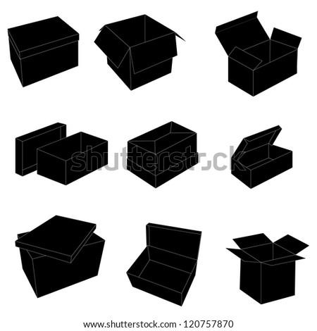 black and white boxes - stock photo