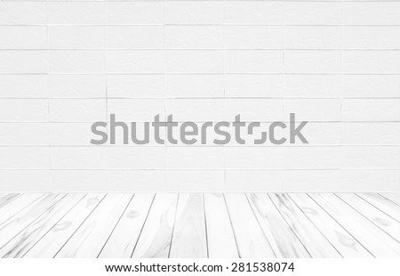 Black and white brick wall texture background / Brick wall texture.white wooden wall texture background.Wood terrace with the blurred background - stock photo