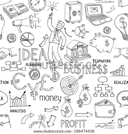 Black and white business doodles seamless pattern with a variety of icons depicting money  analysis  charts  ideas and strategy scattered in a random design - stock photo