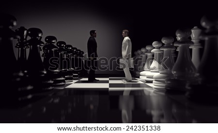 black and white businessmen's on chessboard - stock photo