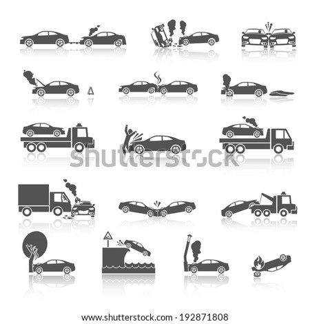 Black and white car crash and accidents icons with pedestrian warning sign and tow truck  illustration - stock photo