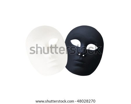 black and white carnival masks crossed,  isolated, - stock photo