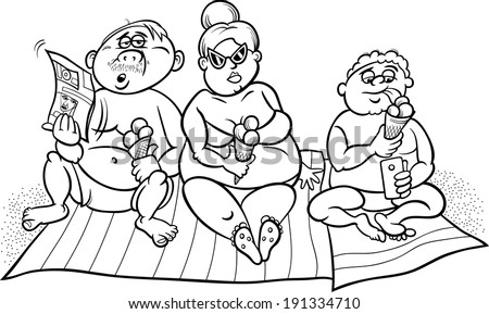 Black and White Cartoon Humor Illustration of Overweight Family on the    Happy Family Cartoon Black And White