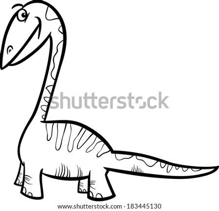 Black and White Cartoon Illustration of Apatosaurus Prehistoric Dinosaur for Coloring Book - stock photo
