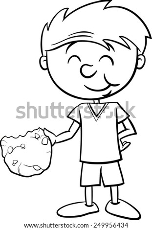 Black and White Cartoon Illustration of Boy Eating Tasty Cookie for Coloring Book