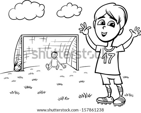 Black and White Cartoon Illustration of Cute Boy Playing Football or Soccer for Coloring Book - stock photo