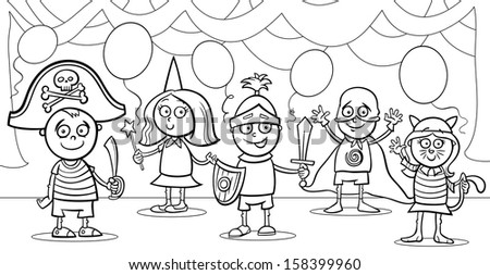Black and White Cartoon Illustration of Cute Little Children in Costumes on Fancy Ball for Coloring Book - stock photo