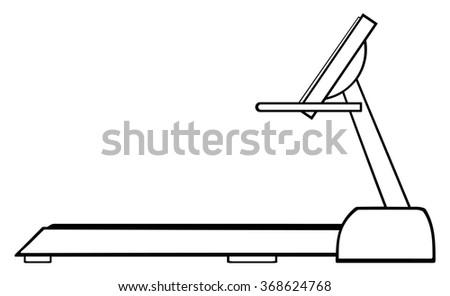 Black And White Cartoon Illustration Of Empty Treadmill. Raster Illustration Isolated On White - stock photo