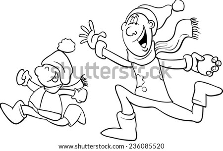 Black and White Cartoon Illustration of Father and Little Son Throwing Snowballs and Having Fun on Winter Time for Coloring Book - stock photo