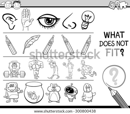 Black and White Cartoon Illustration of Finding Improper Item in the Row Educational Game for Preschool Children with Characters and Objects - stock photo