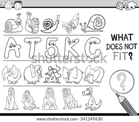 Black and White Cartoon Illustration of Finding Improper Item in the Row Educational Game for Preschool Children with Animal Characters - stock photo