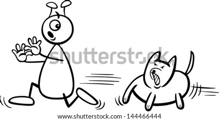 Black and White Cartoon Illustration of Funny Alien or Martian Comic Character Running Away form Dog to Coloring Book - stock photo