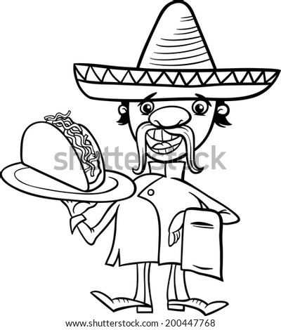 Black and White Cartoon Illustration of Funny Mexican Chef or Waiter with Taco for Coloring Book - stock photo
