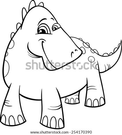 Black and White Cartoon Illustration of Funny Prehistoric Dinosaur or Fantasy Dragon for Coloring Book - stock photo