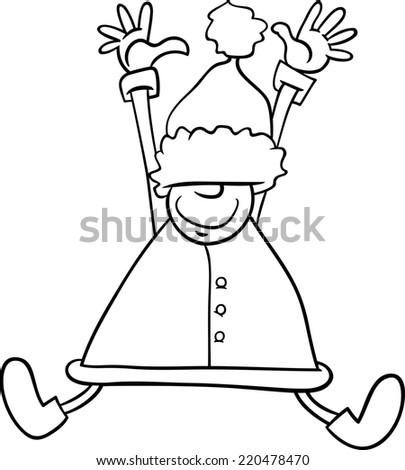 405 x 470 jpeg 28kB, Jumping Santa Claus or Elf Character for Coloring ...