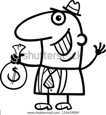 Black and White Cartoon Illustration of Happy Man or Businessman with Bag of Money in Cash - stock photo