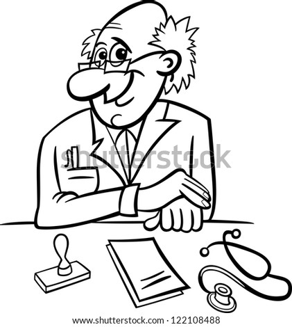 Black and White Cartoon Illustration of Male Medical Doctor in Clinic Consulting Room with Stethoscope and Prescriptions - stock photo