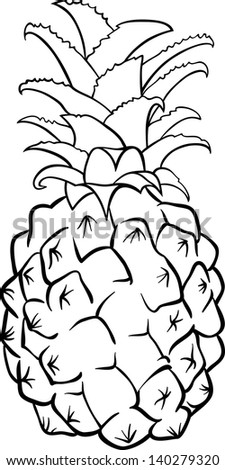 Black and White Cartoon Illustration of Pineapple Fruit Food Object for Coloring Book