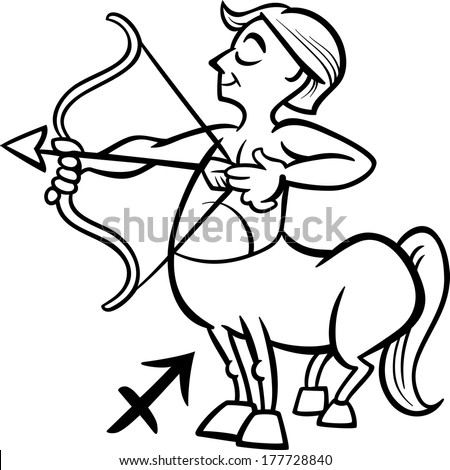 Black and White Cartoon Illustration of Sagittarius or The Archer or Centaur Horoscope Zodiac Sign for Coloring Book - stock photo
