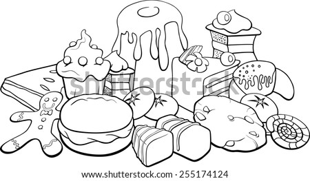 Black and White Cartoon Illustration of Sweet Food like Cakes and Cookies for Coloring Book - stock photo