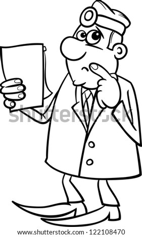 Black and White Cartoon Illustration of Thinking Male Medical Doctor with Writing Board - stock photo