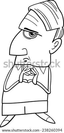 Black and White Cartoon Illustration of Thoughtful Man or Professor Considering Something for Coloring Book - stock photo